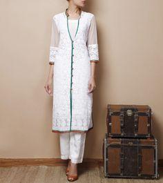 White #Georgette #SalwarKameez Visit Our Store: http://www.ethnicwholesaler.com/salwar-kameez/designer-salwar-kameez