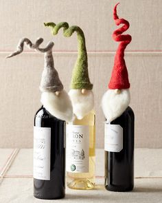 Santa Wine Toppers: Furry beards and bendable woolly felt hats make this trio of charming Santas essential guests for holiday parties and special dinners. These funny little fellows wrap around the tops of wine bottles for fun host and hostess gifts.