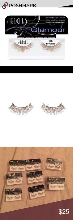 11 Pair of Ardell 105 lashes Bundle of Ardell 105 false eyelashes in brown. Perfect if you're going for a more natural look or you can just put mascara on them to make them even more dramatic!                                               Sealed packages. 100% Authentic. Glamour Lashes. ardell Makeup False Eyelashes