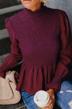 238f286c41580f high neck plain bell sleeve blouses Projekte