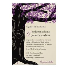 Fall Wedding Reception Cards Oak Tree Purple Wedding Invitation