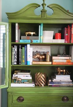 decorating with books vintage china cabinet green decor pencil shavings studio 1