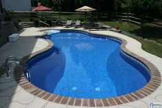 """I like the way this pool is """"trimmed"""" """"blocks"""" next to lighter colored cement. Might be a less expensive way to make the pool stand out."""