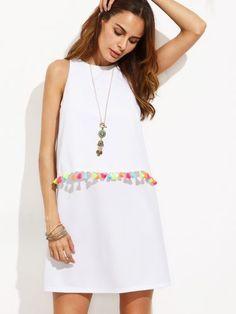 White Tassel Trim Sleeveless A-line Dress
