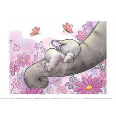 Tampon dessin maman et bébé éléphant. wild rose studio