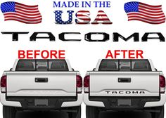 EAG Insert Letters 2016-2018 Toyota Tacoma Rear Tailgate Matte Black ABS Plastic