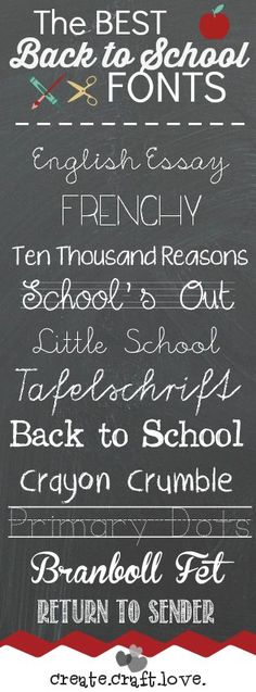 As I was working on some posts for August, I thought I'd share these Back to School Fonts with you!