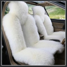 Fluffy Pure White Luxury Australian Lambskin Wool Fur Seat Cover Protectors - #ExpoMart.... I love these!!