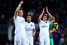Edinson Cavani of Paris Saint-Germain FC acknowledges his supporters at the end of the UEFA Champions League group F match between FC Barcelona and Paris Saint-Germanin FC at Camp Nou Stadium on December 10, 2014 in Barcelona, Catalonia.