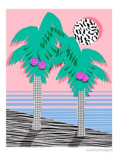 Most Definately - palm tree throwback memphis style retro art print 80s 1980 neon palm springs von wackadesigns
