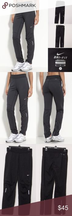 """Nike Element Thermal Pants NIKE Element Thermal Pants. Size S. Very good condition. No visible flaws. Materials:  89% Polyester/11% Spandex Measurements (laying flat): • Waist - 29"""" (around)  • Front Rise - 10"""" • Back Rise - 14""""  • Inseam - 30""""  • Length - 39""""  • Leg Cuff - 7.5"""" ~❌SWAP❌TRADE ~ ✔️❤️Bundles📦💕 ~✔️Smoke-free/pet-free home Nike Pants Track Pants & Joggers"""