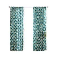 Solaris 108-in L Teal Trellis Outdoor Curtain Panel - Item #: 9729    Model #: 1620808 - $44.99