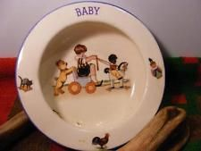 "Antique 5.75"" Czecho Slovakia Baby Childs BOWL Children Teddy Bear Black Boy"