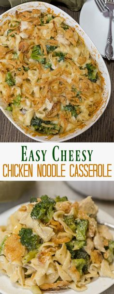 A savory egg noodle casserole made with a creamy mushroom sauce, chicken, cheese, and broccoli. All topped with crispy fried onions a baked to perfection.