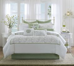 beach themed bedroom ideas for adults | Soft Green and White Comforter Set for Guest Bedroom