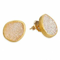 Single Stone Post Earrings with 16mm White Drusy Stones