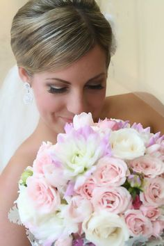 White with soft pink roses