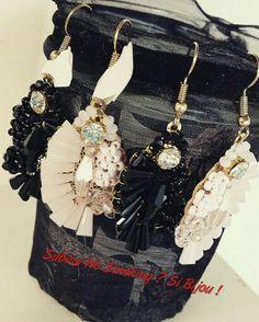 Bijoux orecchini rosa e neri pietre e strass