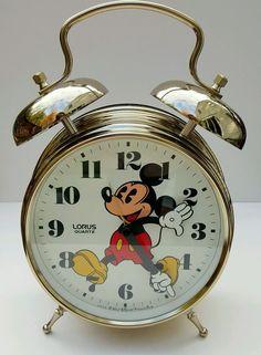 "NWOB HTF 12"" MICKEY MOUSE ALARM CLOCK ~ LORUS GOLD Tone Quartz Two Bell Japan #Disney #MickeyMouse"