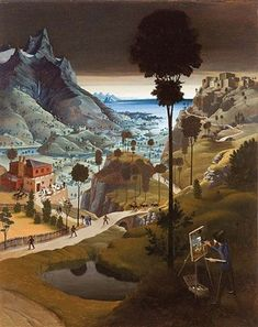 Franz Sedlacek - Landscape with painter, 1926 oil/wood 71,3 x 57,2 cm monogrammed & dated FS 1926