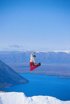 Snowboarding NZ Style, Ohau Skifield, South Island, New Zealand