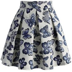 Chicwish Fond for Butterflies Pleated Skirt (145 BRL) ❤ liked on Polyvore featuring skirts, bottoms, saias, blue, black, pleated skirt, blue pleated skirt, butterfly skirt, chicwish skirt and blue skirt