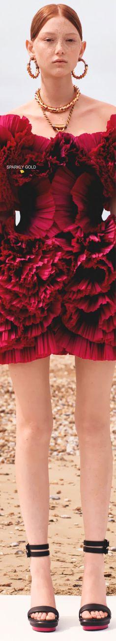 Alexander McQueen Resort 2020 | Sparkly Gold :: Alexandre Mcqueen, Alexander Mcqueen Couture, Mc Queen, Cherry, Ballet Skirt, Women's Fashion, Pretty, People, Gold