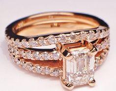 Engagement Ring - Pink Gold Emerald Cut Diamond Split Band Engagement Ring  & Matching Wedding Band