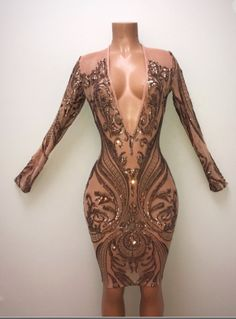 81fc34445336 Low cut sequin nude dress Bad And Boujee Outfits