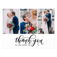 Three Photo Collage Thank You Script Wedding Postcard - wedding thank you gifts cards stamps postcards marriage thankyou
