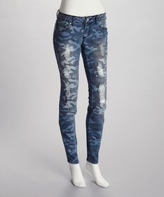 Take a look at this Blue Denim Camo Skinny Distressed Jeans by Almost Famous on #zulily today!