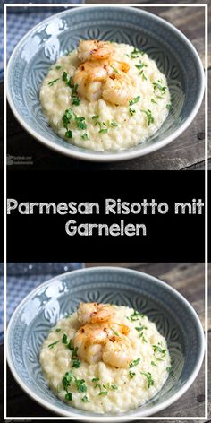 Parmesan risotto with shrimps - Risotto al Parmigiano my mouth is watering! The Parmesan risotto is topped with fried shrimps. Parmesan Risotto, Stuffed Mushrooms, Stuffed Peppers, Greek Recipes, Cajun Recipes, Shrimp Recipes, Food Items, Nachos, A Food