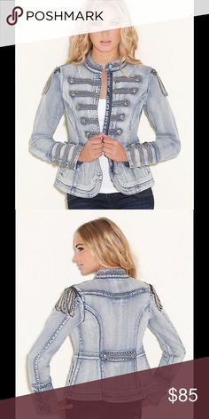 GUESS Denim Marching Jacket 💋 Handcrafted for truly one-of-a-kind style, this statement denim jacket features bead and chain detail and a rock 'n' roll feel. • Mandarin collar. Long sleeves with triple button detail. Stretch. • Silver-tone bead and button detail. Chain epaulettes attach with zipper. Welt pockets at lower front. • Hidden front zipper closure. Snap closure at collar. • 99% Cotton, 1% Spandex • Hand wash. LIKE NEW CONDITION ‼️ Worn Once ‼️😍 Guess Jackets & Coats Jean Jackets
