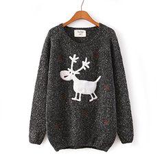 Omine Damen Weihnachts Rentier Schneeflocken Lockerer Pullover Pullover Oberteil - Schwarz, Einheitsgröße Omine http://www.amazon.de/dp/B00P7TUBMQ/ref=cm_sw_r_pi_dp_fn3pwb0ZZZG43