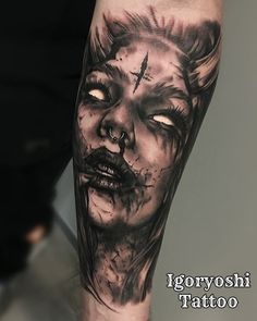 diy best tattoo images - Am schönsten Evil Tattoos, Spooky Tattoos, Forarm Tattoos, Badass Tattoos, Skull Tattoos, Body Art Tattoos, Hand Tattoos, Horror Tattoos, Tattoo Girls
