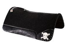 Black Croc - White Leather Skull - Silver Spots Best Ever Pads  Custom Saddle Pads 805-528-8009 www.BestEverPads.com