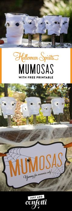Kids can't have all the fun this Halloween! This MUMosa DIY tutorial will have all the mummies cheering! Complete with step-by-step instructions and a free printable sign! #halloween #mumosas #yummyformummies #freeprintable #DIYmumosacups #justaddconfett