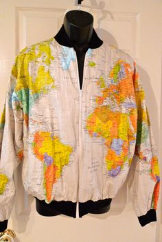 Tyvek usa world map jacket xxl supreme cap 80s hip hop retro indie world map paper jacket wearin the world map cream white large 80s tyvek bomber jacket vintage retro free ship gumiabroncs Image collections