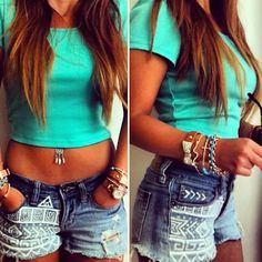 cropped t-shirt & tribal print shorts - too perfect