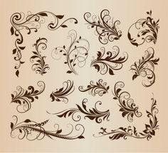 ヴィンテージデザインの渦巻き模様の花の要素