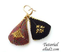 Tutorial - Triangular Drop Earrings - Instant download, Beading tutorial, Jewelry Tutorial