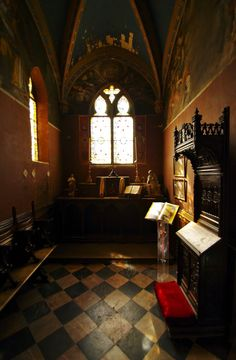 Interior of The Clos Lucey castle where Leonardo Da Vinci lived his last 3 years, in Amboise, Loire Valley, France