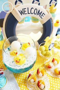 Rubber Ducky themed birthday party with Lots of Darling Ideas via Kara's Party Ideas