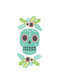 Skull Art Print. Illustration. Day Of The Dead. 4 by HelloPants