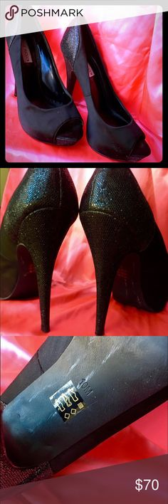 🎈SALE THRU FRIDAY⭐️Steve Madden Stilettos⭐️ Now is the time to buy! These Steve Madden satin black stilettos are gorgeous. They are in such amazing condition, with the only visible wear being on the bottom (white scuffing which can probably be removed). The 5 inch heel is covered in black sequins. These heels would pair great with a black dress or some jeans for a causal night out with friends. They're listed on multiple sites so purchase them while they last! Steve Madden Shoes Heels