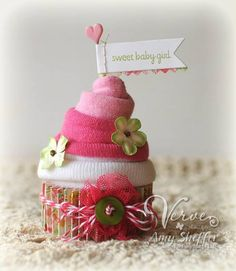 Baby Sock Cupcake by PickleTree - Cards and Paper Crafts at Splitcoaststampers
