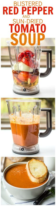 your blender do the work making this bistro-style Blistered Red Pepper and Sun Dried Tomato Soup!Let your blender do the work making this bistro-style Blistered Red Pepper and Sun Dried Tomato Soup! Blender Recipes, Cooking Recipes, Healthy Recipes, Milk Recipes, Vegan Vitamix Recipes, Blender Soup, Ninja Recipes, Jelly Recipes, Juice Recipes