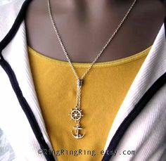 Anchor necklace Silver necklace ships wheel by RingRingRing