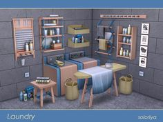Laundry by Soloriya for The Sims 4 Maxis, Sims Four, Sims 4 Mm Cc, Sims 4 Cc Furniture, Custom Furniture, Living Room Objects, Sims 4 Kitchen, Sims 4 House Building, Muebles Sims 4 Cc