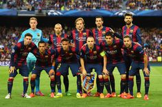 The Barcelona team pose for the vcameras prior to kickoff during the UEFA Champions League Semi Final, first leg match between FC Barcelona and FC Bayern München at Camp Nou on May 6, 2015 in Barcelona, Catalonia.